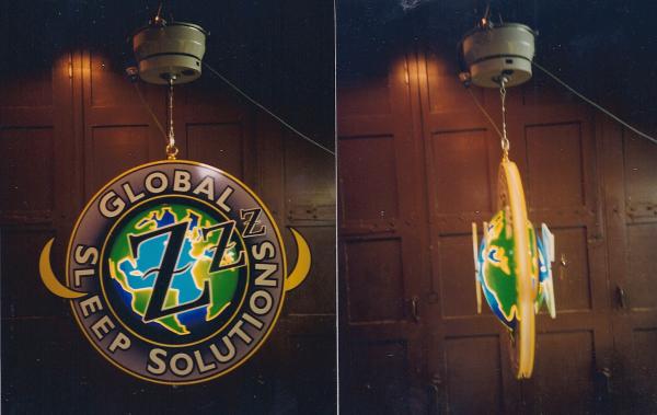 Global Sleep Solutions rotating sign